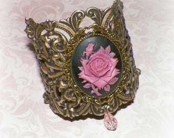 Cuff Bracelet Pastel Goth Wide Victorian Vintage Statement Style Steampunk Cosplay Costume Gothic Rose Antique Gold Style