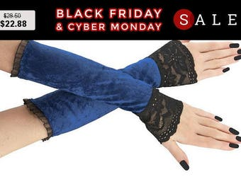 Blue black long fingerless gloves, arm warmers  gothic, burlesque vintage style goth lace bridal wedding gloves, womens evening gloves 2P
