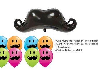 Mustache Smiley Balloons