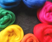 Merino Wool top roving pack - Rainbow