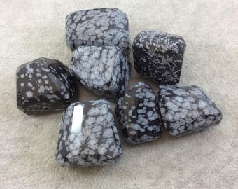 28-38mm Large Faceted Snowflake Obsidian Nugget Bead - Sold Individually, Randomly Chosen - High Quality Hand-Cut Indian Semi-Precious Stone
