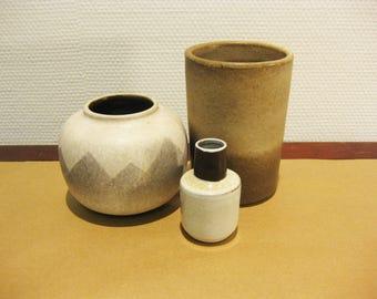 Set of 3 Vintage Beige Vases