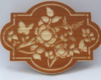 Humming bird wooden wall art.
