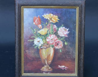 Vintage Acrylic Floral Painting on Canvas, 1960's, Fine Art, Still Life, Antique still life, Floral Still Life