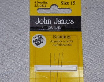 4 John James needles beads No. 15 thin