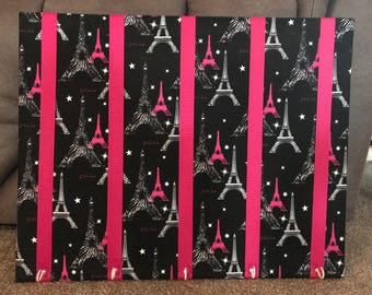 Paris themed 16x20 bow board with hooks