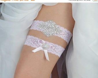 30% OFF Light Pink Wedding Garter, Pink Lace Wedding Garter, Dusty Pink Bridal Garter Set, Silver Crystal Bridal Garter Set - Style 12