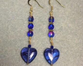 Cobalt blue and purple Czech glass heart bead dangle earrings adorned with cobalt blue and purple Czech glass beads.