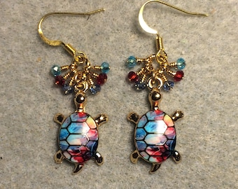 Turquoise, dark red and blue enamel turtle charm earrings adorned with tiny turquoise, dark red, and light blue Chinese crystal beads.