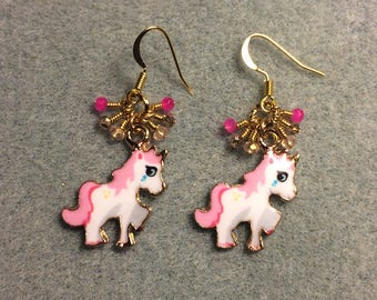 Hot pink, white and gold enamel unicorn charm earrings adorned with tiny dangling hot pink, light pink and gold Chinese crystal beads.