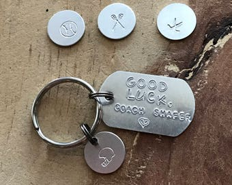 Personalized coach gift Coach key ring coach keychain softball baseball football hockey lacrosse keychain custom keychain sports key chain