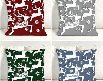 Personalized Reindeer Throw Pillow-Monogram Reindeer Throw Pillow