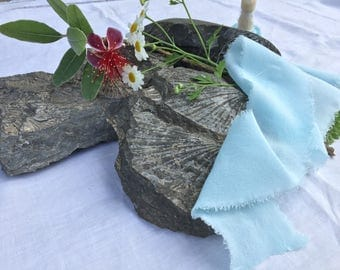 BABY BLUE hand dyed silk ribbon / crepe de chine / plant dyed / eco dyed / wedding ribbon / styling ribbon / photo prop / pure silk ribbon