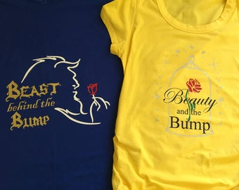 Beauty and The Beast Inspired Couples Maternity, Disney Maternity Shirt