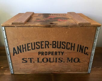 Anheuser Busch Crate Wood Crate Beer Crate Vintage Box Busch Beer