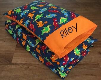 "Boy Nap Mat Cover & Personalized Toddler Pillow, Dinosaur/ORANGE Cotton (Fits 5/8""x19""x45"" or 1""x19""x45"" or 2""x19""x44"" Vinyl Mat)"