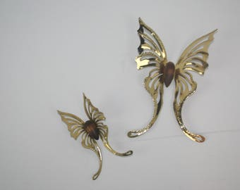 Vintage Brass & Wood Butterfly (set of 2) Wall Sculpture Hanging