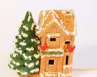 Vintage Christmas House - Lighted Snow covered House with Red Birds and Christmas Tree - Rare LEFTON Japan VILLAGE Row HOUSE Christmas 1749