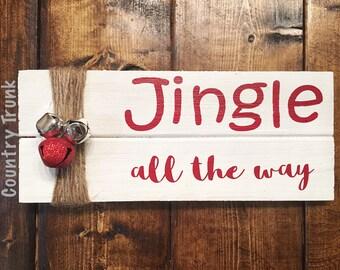 Jingle All The Way Decor; Wood Sign; Pallet Wood Decor; Holiday Decor; Jingle Bells