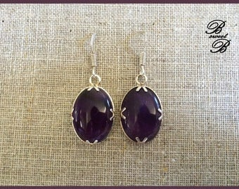 """Amethyst earrings on Silver 925 """"Multicolored"""" collection made entirely by hand."""