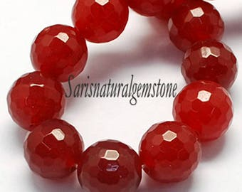 Natural Jade Bead, Faceted, Round beads, Dark Red, Size about 12 mm in diameter, hole 1 mm
