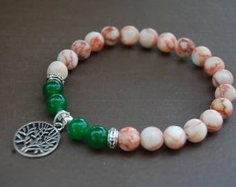 Rhodonite Jasper Bracelet,Tree of Life Bracelet,Gemstone 8mm Beads,Yoga,Meditation Bracelet,Stretch Fit,Gemstone,Man,Women,Beaded Jewelry