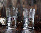 Set of  2 Vintage Soviet Tea Glasses & Holders Seagulls 70s silver tone stainless steel russian tea cup Traditional  holder soviet decor