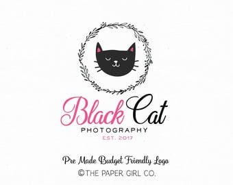 cat logo kitten logo photography logo premade logo boutique logo sewing shop logo baby shop logo kids shop logo pre made logo watermark logo