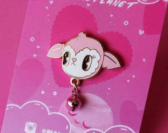 Kawaii Kitsch Candy Lamb 3cm hard enamel pin, with Pink jingle bell! One post and Rubber clutch!