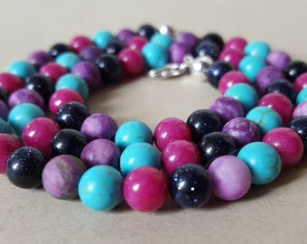 Precious stone chain bubblegum mix - 45 cm