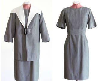 1950s gray and white stripe dress set