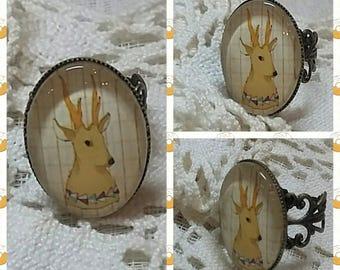 """my little Bennett"" Oval Ring. Cabochon glass 25 x 18 mm"