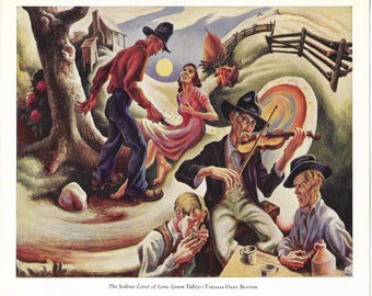 Modern American Painting - The Jealous lover of Lorne Green Valley - Thomas Hart Benton