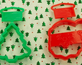 1994 Wilton 2 Pc. Santa And Christmas Tree Plastic Cookie Cutter Set