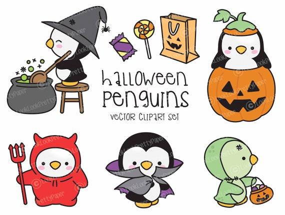 Premium Vector Clipart Kawaii Halloween Penguins Cute