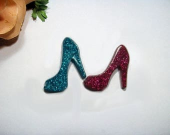 "2 Pc Blue/Hot Pink Resin Kawaii Cabochon Diy Decoden Flat Back ""Glitter High Heels"" Cellphone Case Deco"