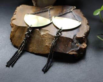 Boho Brass Long Dangle Earrings, Beaded Long Dangle Earrings, Gypsy Beaded Earrings