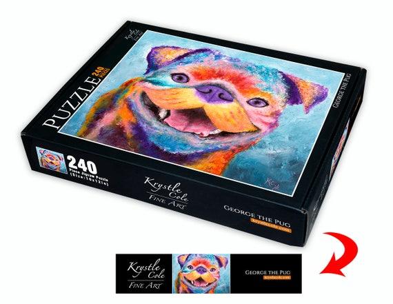 Pug Puzzle - Dog Puzzle, Dog Lover Gift, Dog Jigsaw Puzzle, Jigsaw Puzzles, Fun Puzzle Gifts, Krystle Cole Fine Art Puzzle, 240 Piece Puzzle