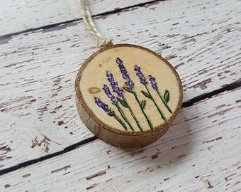 Flower Ornament, Rustic Ornament, Wood Slice Ornament, Wood Ornament, Lavender. Lavender Painting, Purple Flowers