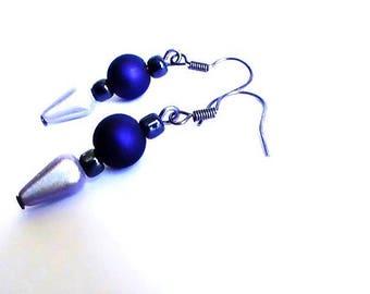Earrings beaded satin Royal Blue