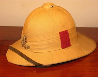Edwardian Vintage British Army Royal Artillery Solar Pith Helmet Topee C1940
