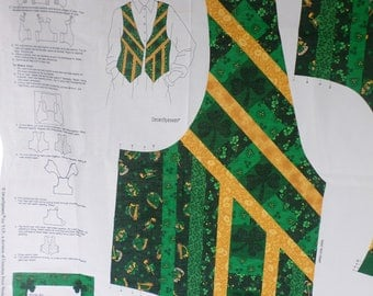 St. Patricks  Day Vest to sew in 4 different sizes from Dream Spinners for VIP.