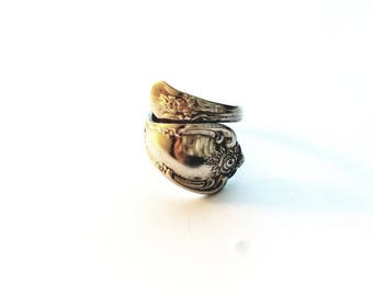 Vintage Silver WMA Rogers Oneida LTD Signed Spoon Ring Size is Adjustable