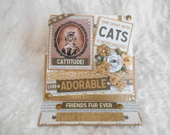 Cat card to ask, handmade, 3D, shabby, size easel.