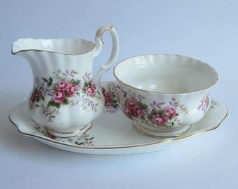 Royal Albert LAVENDER ROSE Bone China Mini Creamer and Open Sugar Bowl with Under Plate