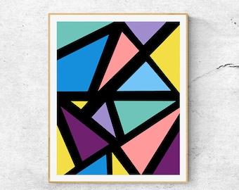 Geometric Abstract Wall Art Print 0506, Geometric Painting, Triangular Pattern, Minimalist art, Modern Art Print, Triangle Art Print