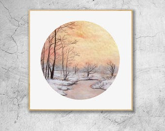 Winter Sunset Trees, Landscape Watercolor Illustration Print, Wall Art, Wall Decor, Watercolor Painting, Art Print