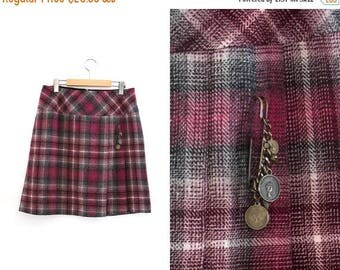 On sale Vintage checkered skirt. Midi skirt. Pink - White - Grey.  High waist skirt. Size 12.