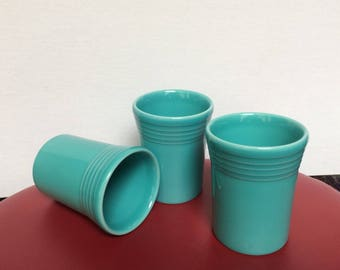 Set Of 3 Fiestaware Turquoise Tumblers - Fiestaware 60th Anniversary Collection - Homer Laughlin China Co. - 6 Oz Tumblers - Made In USA