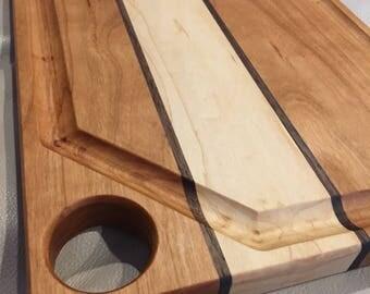 Cherry, Maple, and Walnut Cutting Board